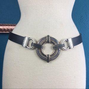 Chico's black & silver tone adjustable belt S/M